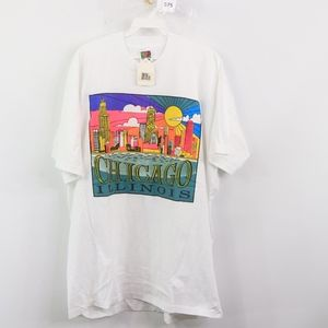 NOS 90s Chicago IL Skyline T Shirt Mens XL White